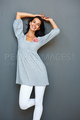 Buy stock photo Happy woman posing against wall