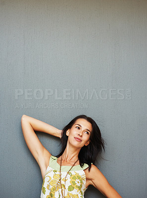 Buy stock photo Woman posing and smiling against background