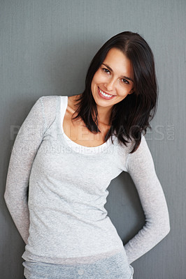 Buy stock photo Woman posing against background and tilting head