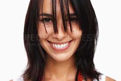 Buy stock photo Pretty woman smiling with hair in her face