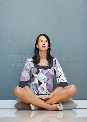 Buy stock photo Pretty woman relaxing in lotus position