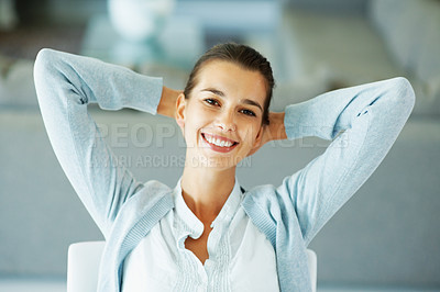 Buy stock photo Closeup of pretty young woman smiling and relaxing