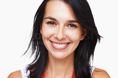 Buy stock photo Closeup portrait of happy woman looking at you on white background