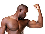 An african american man showing his biceps