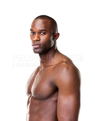 Buy stock photo Portrait of a fit young guy looking at you with an attitude against white background