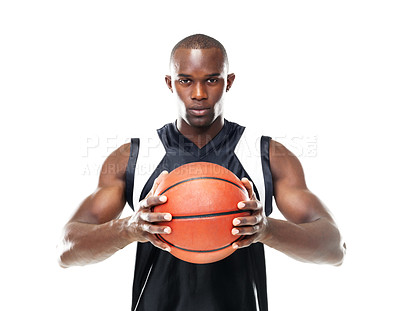 Buy stock photo Portrait of a young man holding the ball tightly and staring straight at you, isolated on white - copyspace