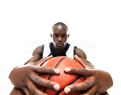 Buy stock photo Portrait of a young attractive african american man with a basketball over white background