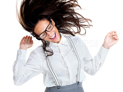 Buy stock photo Portrait of a young brunette woman dancing isolated against white background