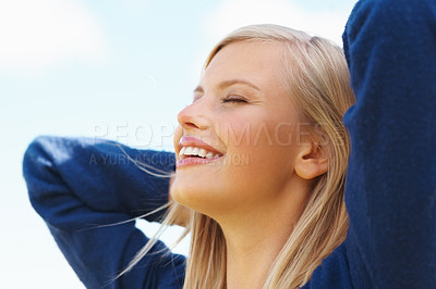 Buy stock photo Happy pretty female with eyes closed relaxing