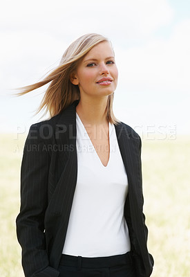 Buy stock photo Happy young business woman - outdoor
