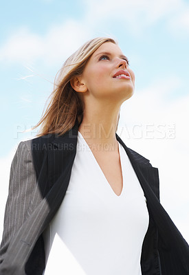 Buy stock photo Beautiful business woman looking away