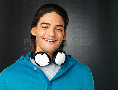 Buy stock photo Portrait of attractive man with headphones smiling