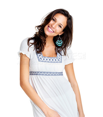 Buy stock photo Portarit of a happy young female model posing against white background