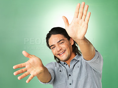 Buy stock photo Happy man with hands extended out