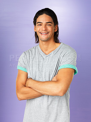 Buy stock photo Smiling man standing with arms crossed