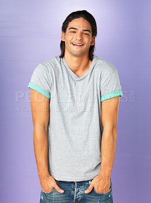 Buy stock photo Handsome man with hands in pockets