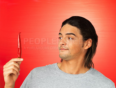 Buy stock photo Attractive man looking at chili pepper on red background