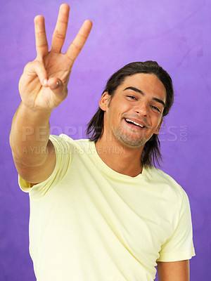 Buy stock photo Portrait of handsome man holding up three fingers