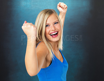 Buy stock photo Closeup of excited woman with her clenched fist
