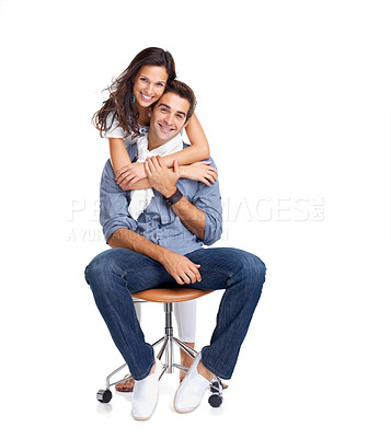 Buy stock photo Portrait of a beautiful young woman hugging her boyfriend from behind against white background