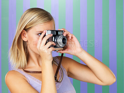 Buy stock photo Portrait of happy woman taking photo with vintage camera