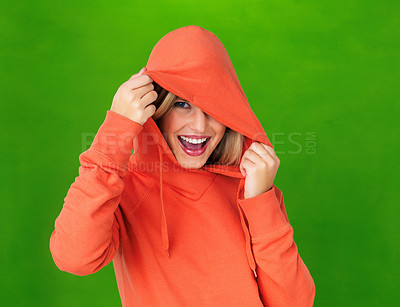 Buy stock photo Portrait of happy blond girl laughing in orange hoodie