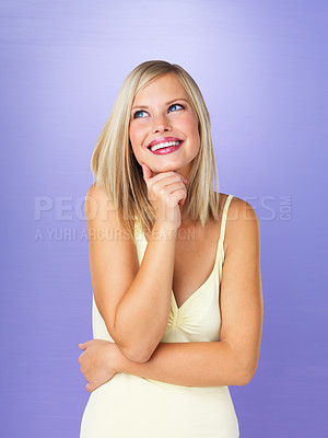 Buy stock photo Portrait of thoughtful pretty woman looking up