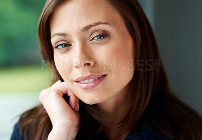 Buy stock photo Closeup portrait of a smiling young female fashion model posing