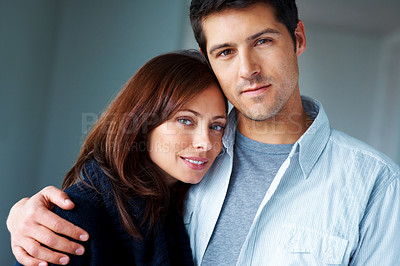 Buy stock photo Closeup portrait of a romantic young couple standing together
