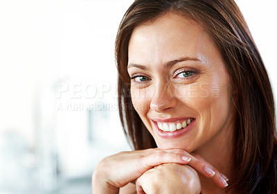 Buy stock photo Closeup portrait of a beautiful young lady looking confidently with copyspace