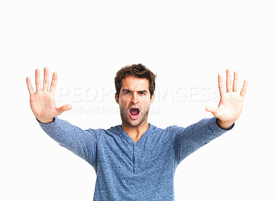 Buy stock photo Furious man gesturing stop sign on white background