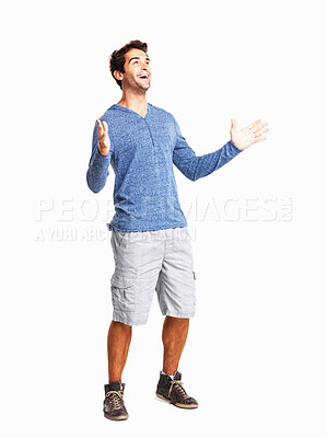 Buy stock photo Surprised young man with hands gesture on white background