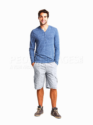 Buy stock photo Trendy man with hands in pockets against white background