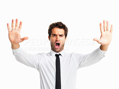 Buy stock photo Annoyed executive gesturing stop sign on white background