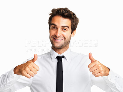 Buy stock photo Happy man showing success sign on white background