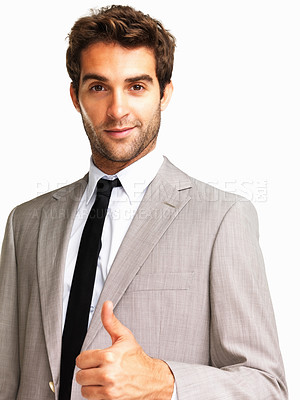Buy stock photo Confident business man with a positive sign on white background