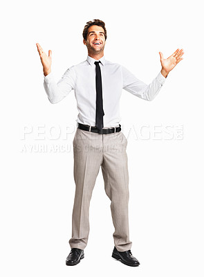 Buy stock photo Full length of a surprised junior executive with hands gesture on white background