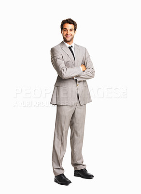 Buy stock photo Full length of a happy business man with hands folded on white background