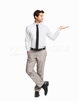 Buy stock photo Executive holding an invisible product on white background