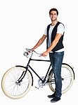 Happy man with his retro bicycle