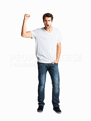 Buy stock photo Casually dressed man holding up fist in aggression