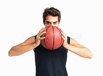 Buy stock photo Basketball player concentrating on next move