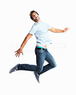 Buy stock photo Handsome man leaping in the air