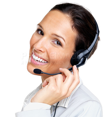 Buy stock photo Portrait of a successful young female call centre employee wearing a headset against white background