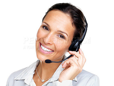 Buy stock photo Portrait of a happy young female customer representative with headset smiling during a telephone conversation