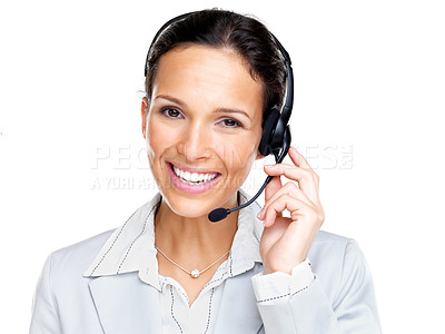 Buy stock photo Portrait of a confident young female customer service agent with headset isolated over white background