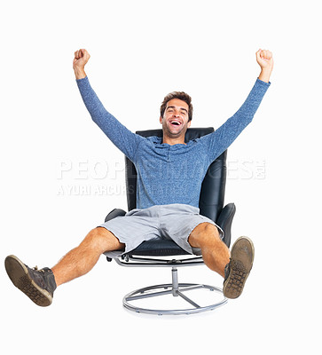 Buy stock photo Handsome man relaxed in chair with legs and arms out