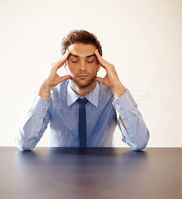 Buy stock photo Closeup portrait of stressed young business man with closed eyes