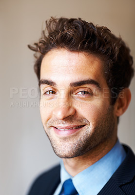 Buy stock photo Closeup of handsome executive smiling