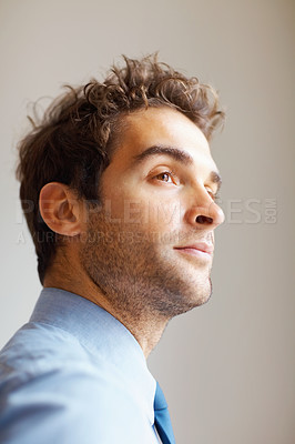 Buy stock photo Close up of executive day dreaming